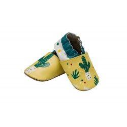 Krabbelschuhe aus Leder mit Kaktus-Motiv – Rutschfeste Sohle