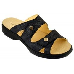 Damis Comfort Shoes, Komfortschuhe, Lederschuhe, Pantolette, Sandalette, Damen Anna Schwarz